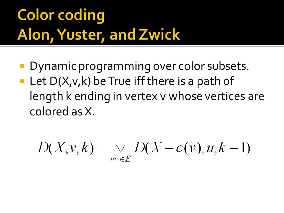  Dynamic programming over color subsets.