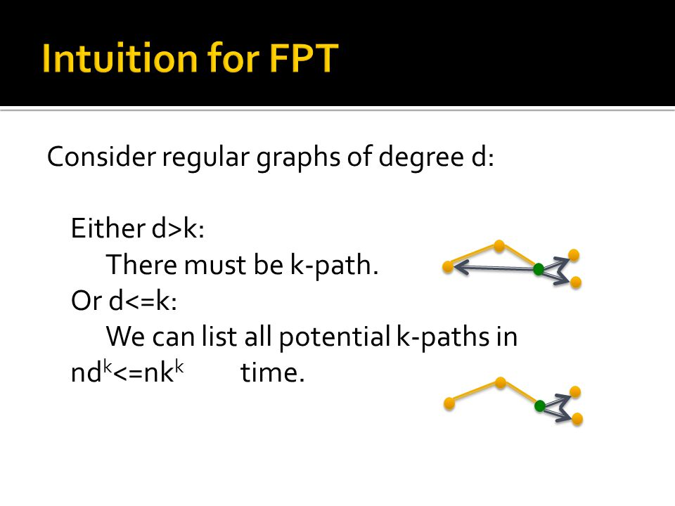 Consider regular graphs of degree d: Either d>k: There must be k-path.