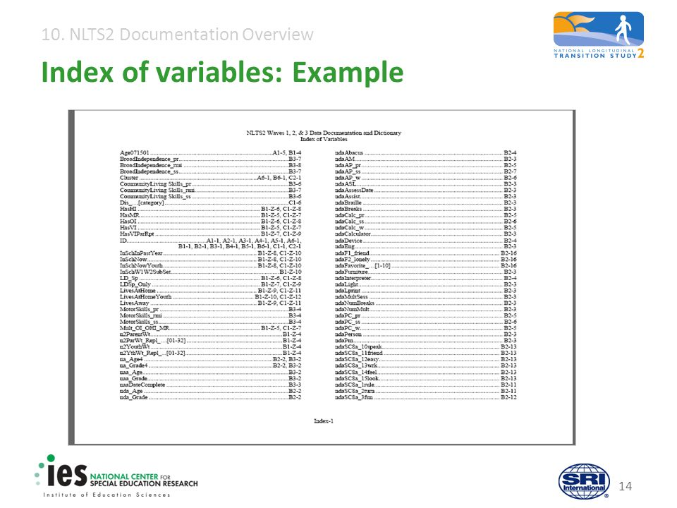 10. NLTS2 Documentation Overview 14 Index of variables: Example