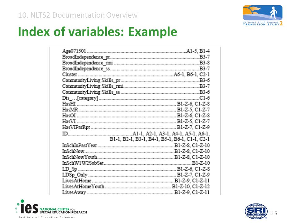 10. NLTS2 Documentation Overview 15 Index of variables: Example