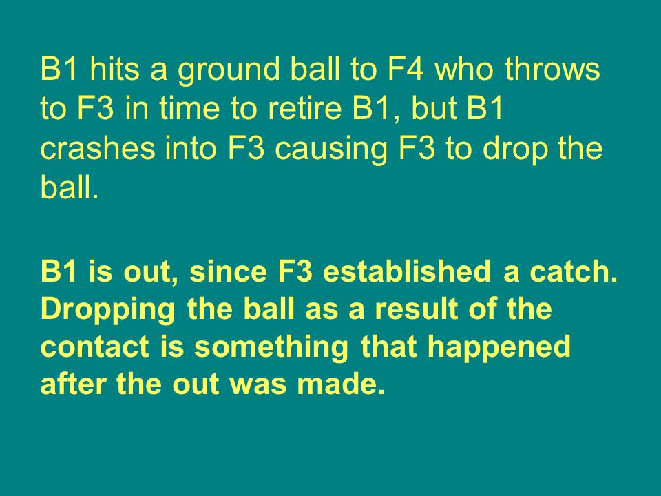 B1 is out, since F3 established a catch.