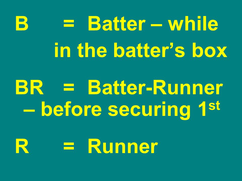 B = Batter – while in the batter's box BR=Batter-Runner – before securing 1 st R=Runner
