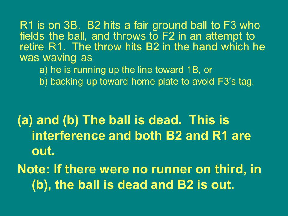 (a) and (b) The ball is dead. This is interference and both B2 and R1 are out.