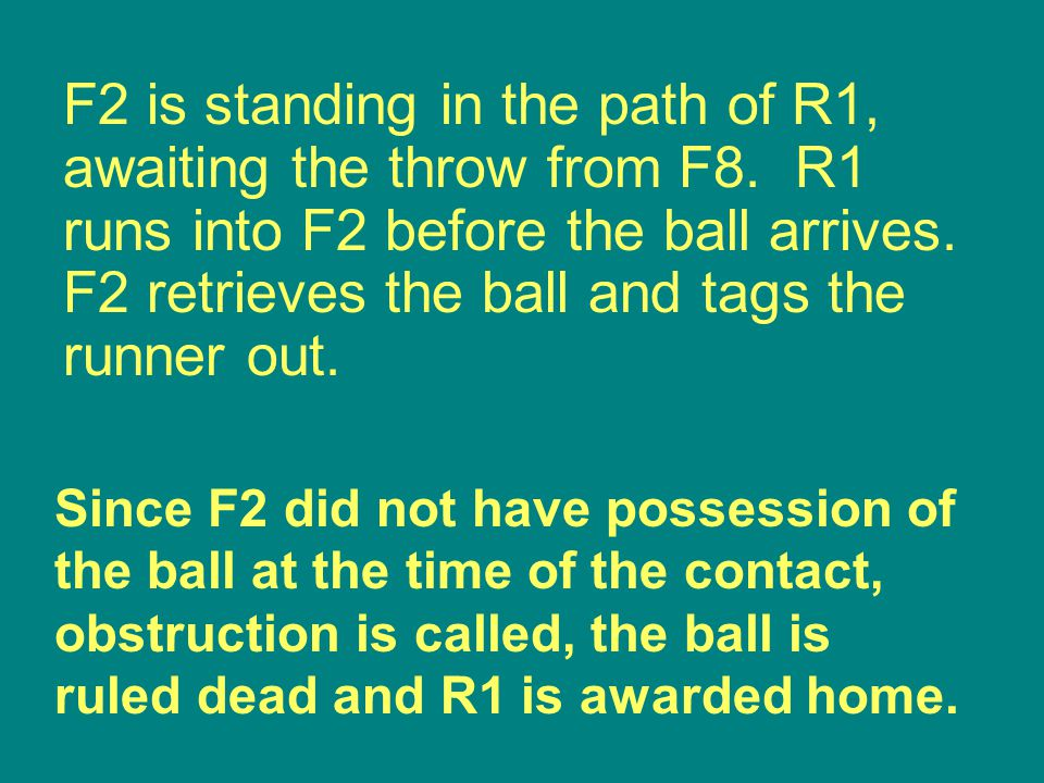 Since F2 did not have possession of the ball at the time of the contact, obstruction is called, the ball is ruled dead and R1 is awarded home.