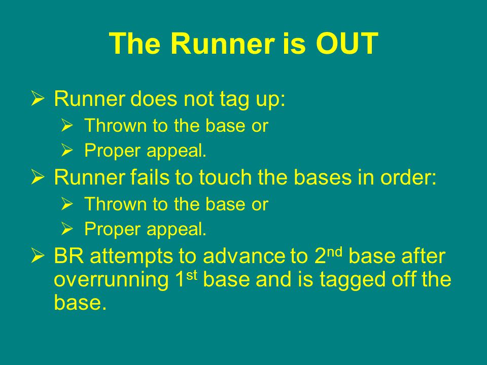 The Runner is OUT  Runner does not tag up:  Thrown to the base or  Proper appeal.