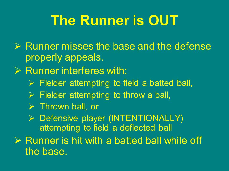 The Runner is OUT  Runner misses the base and the defense properly appeals.