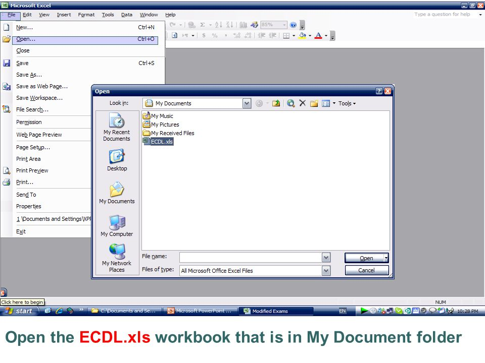 Open the ECDL.xls workbook that is in My Document folder