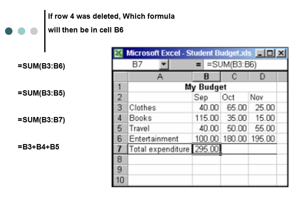 If row 4 was deleted, Which formula will then be in cell B6 =SUM(B3:B6) =SUM(B3:B5) =SUM(B3:B7) =B3+B4+B5