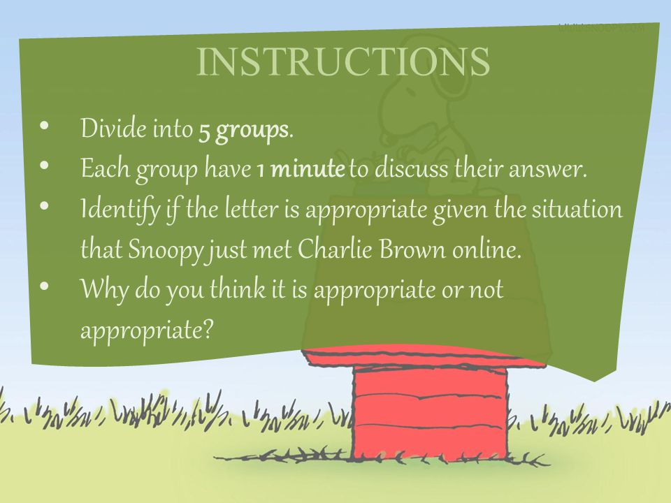 INSTRUCTIONS Divide into 5 groups. Each group have 1 minute to discuss their answer.