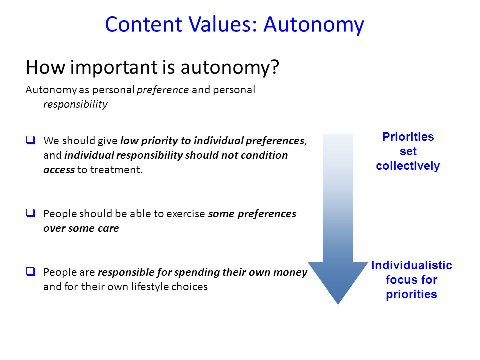 Content Values: Autonomy How important is autonomy.