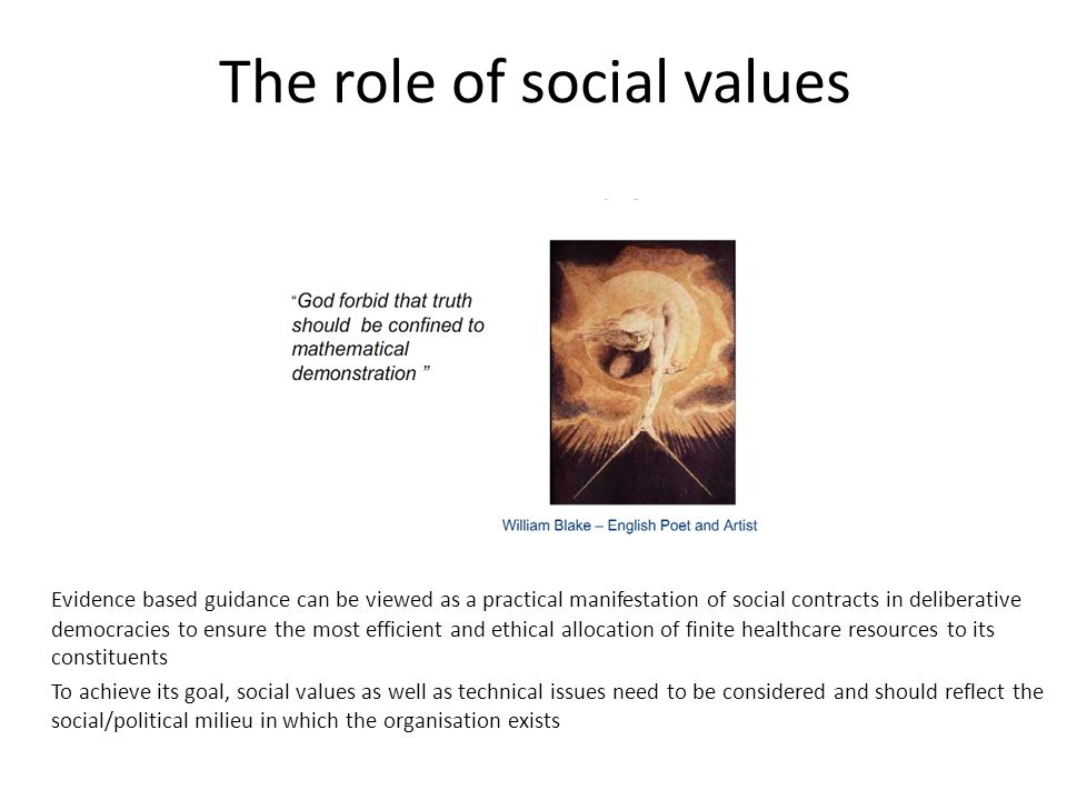 The role of social values Evidence based guidance can be viewed as a practical manifestation of social contracts in deliberative democracies to ensure the most efficient and ethical allocation of finite healthcare resources to its constituents To achieve its goal, social values as well as technical issues need to be considered and should reflect the social/political milieu in which the organisation exists