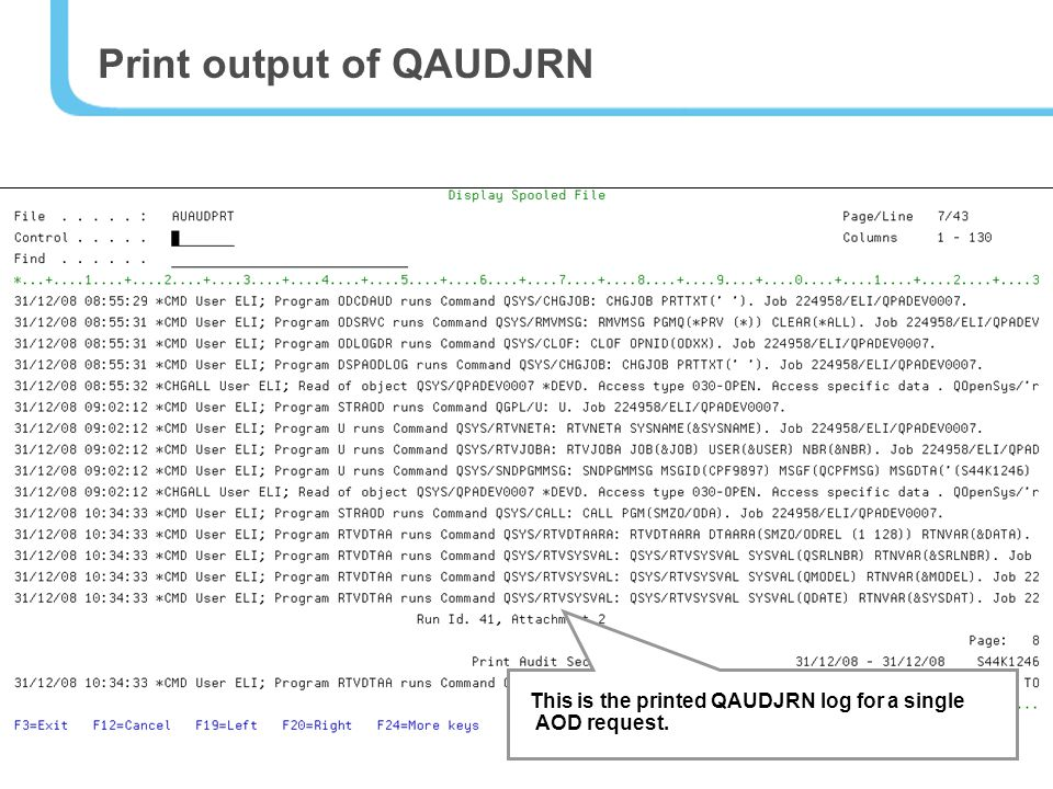 34 This is the printed QAUDJRN log for a single AOD request. Print output of QAUDJRN