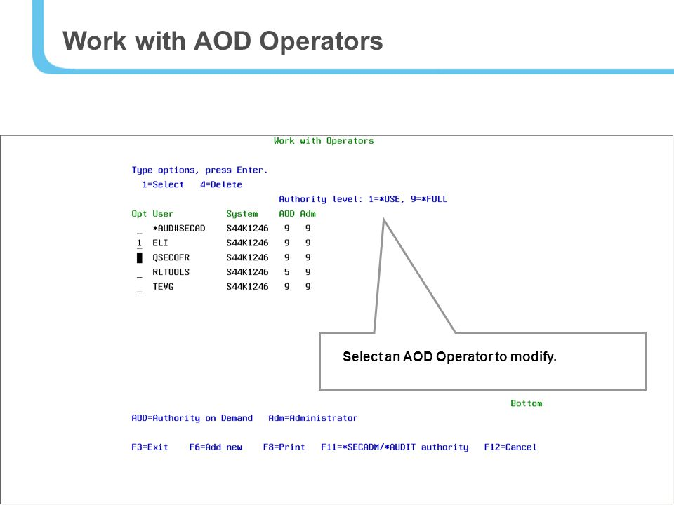 44 Work with AOD Operators Select an AOD Operator to modify.