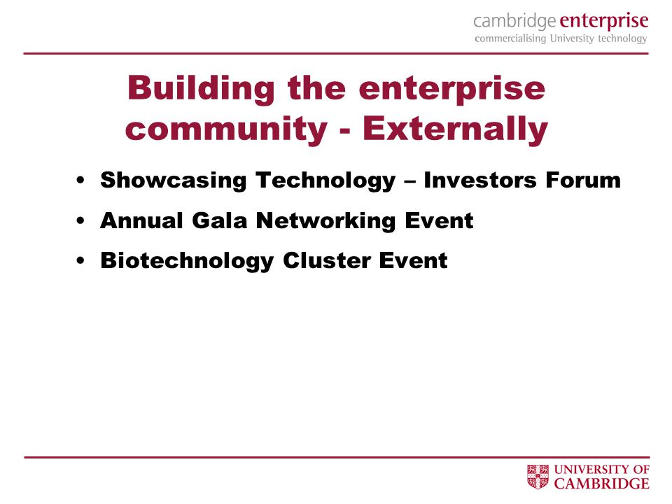 Building the enterprise community - Externally Showcasing Technology – Investors Forum Annual Gala Networking Event Biotechnology Cluster Event