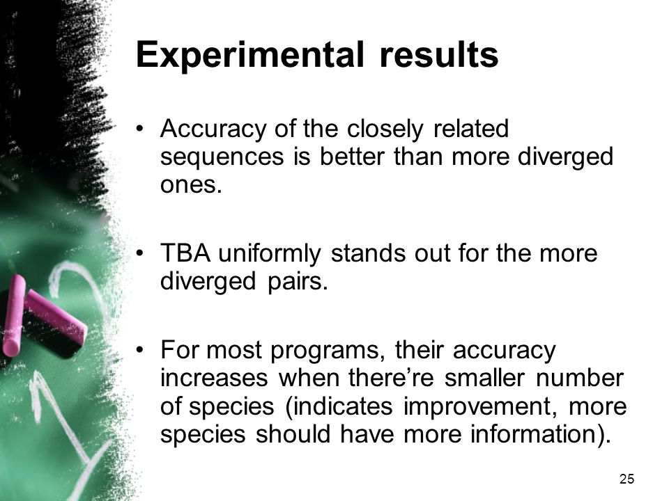 25 Experimental results Accuracy of the closely related sequences is better than more diverged ones.
