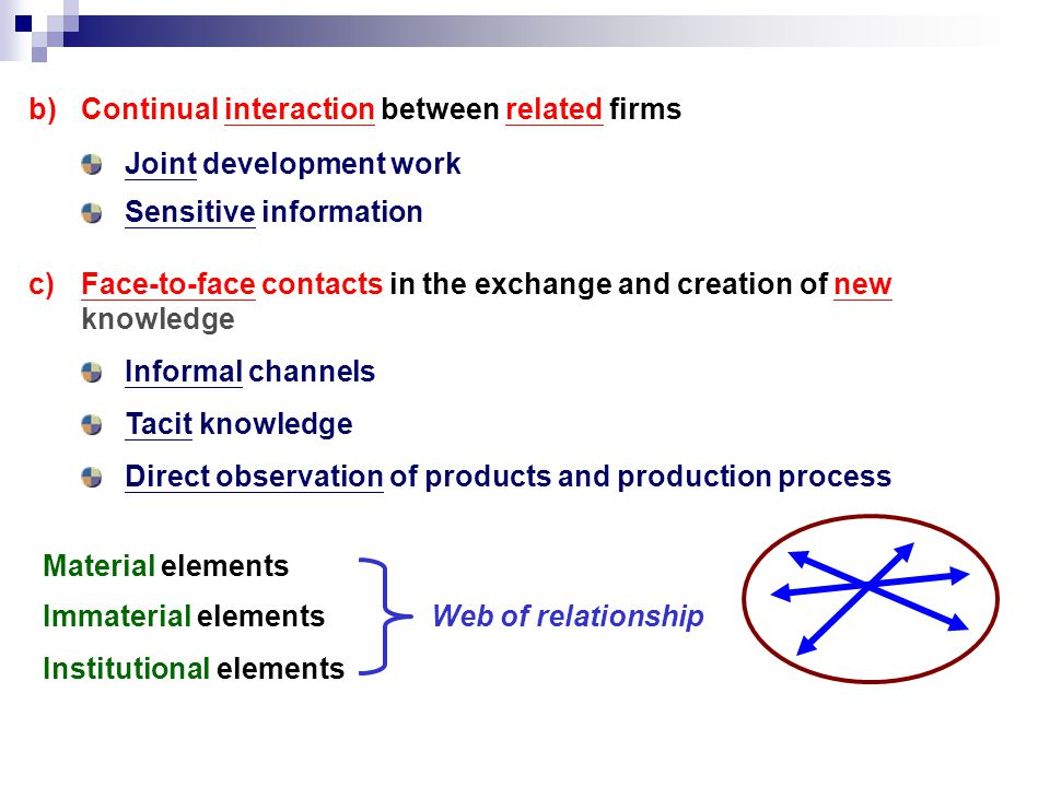 Web of relationship Material elements c)Face-to-face contacts in the exchange and creation of new knowledge Informal channels Tacit knowledge Direct observation of products and production process b)Continual interaction between related firms Joint development work Sensitive information Immaterial elements Institutional elements