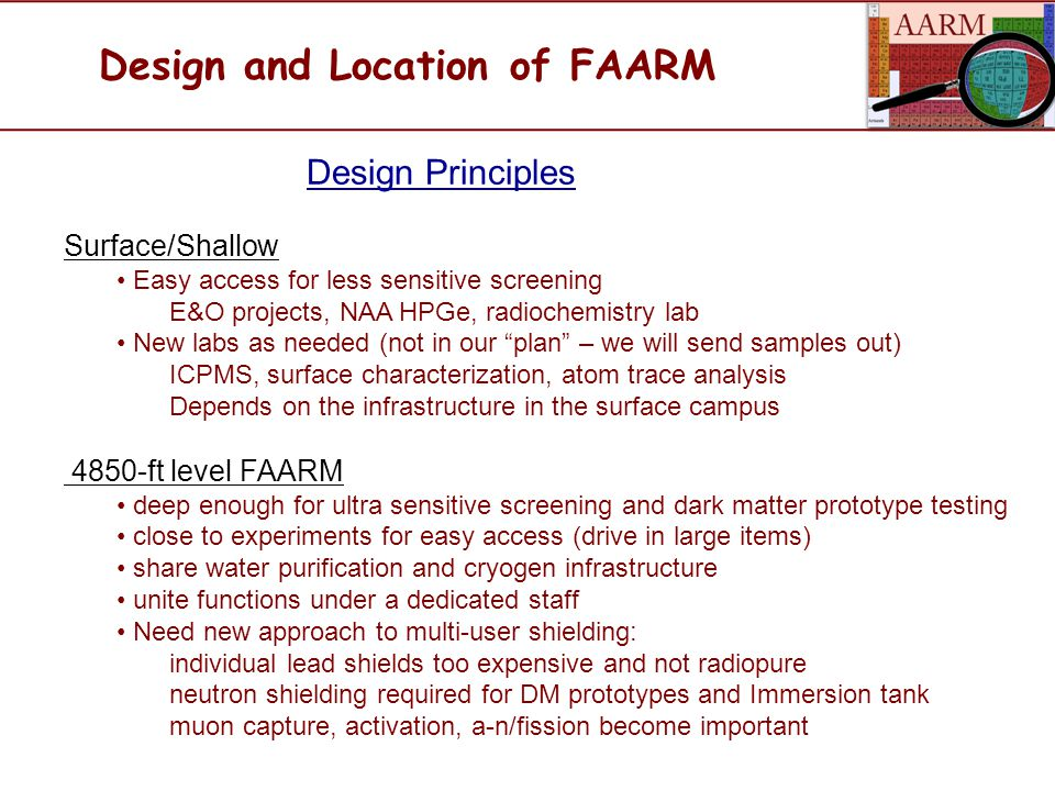 Design and Location of FAARM Design Principles Surface/Shallow Easy access for less sensitive screening E&O projects, NAA HPGe, radiochemistry lab New labs as needed (not in our plan – we will send samples out) ICPMS, surface characterization, atom trace analysis Depends on the infrastructure in the surface campus 4850-ft level FAARM deep enough for ultra sensitive screening and dark matter prototype testing close to experiments for easy access (drive in large items) share water purification and cryogen infrastructure unite functions under a dedicated staff Need new approach to multi-user shielding: individual lead shields too expensive and not radiopure neutron shielding required for DM prototypes and Immersion tank muon capture, activation, a-n/fission become important