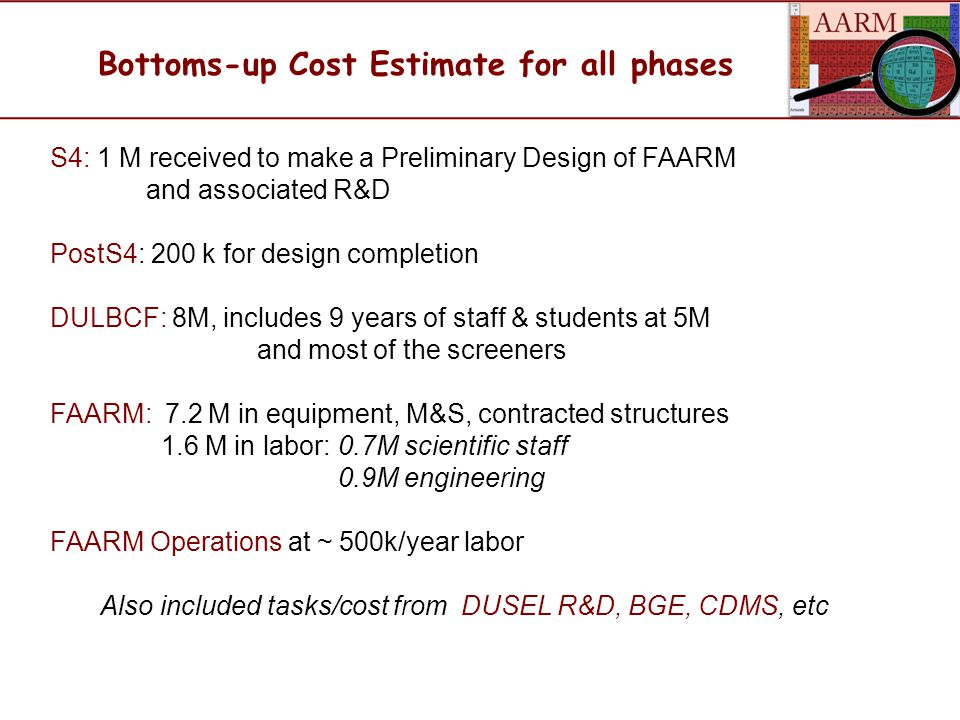 Bottoms-up Cost Estimate for all phases S4: 1 M received to make a Preliminary Design of FAARM and associated R&D PostS4: 200 k for design completion DULBCF: 8M, includes 9 years of staff & students at 5M and most of the screeners FAARM: 7.2 M in equipment, M&S, contracted structures 1.6 M in labor: 0.7M scientific staff 0.9M engineering FAARM Operations at ~ 500k/year labor Also included tasks/cost from DUSEL R&D, BGE, CDMS, etc