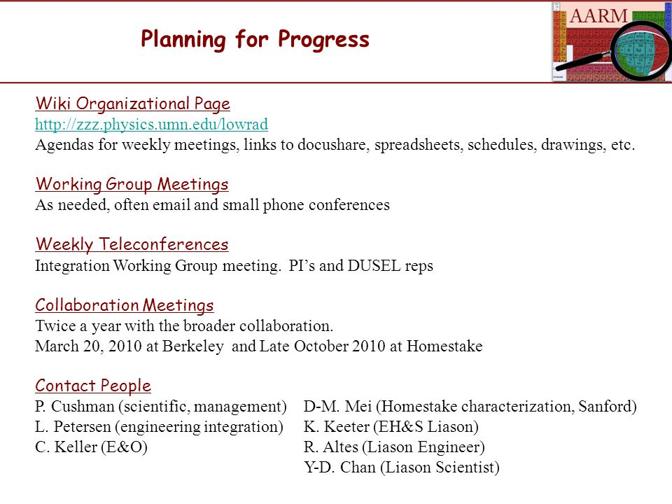 Planning for Progress Wiki Organizational Page http://zzz.physics.umn.edu/lowrad Agendas for weekly meetings, links to docushare, spreadsheets, schedules, drawings, etc.