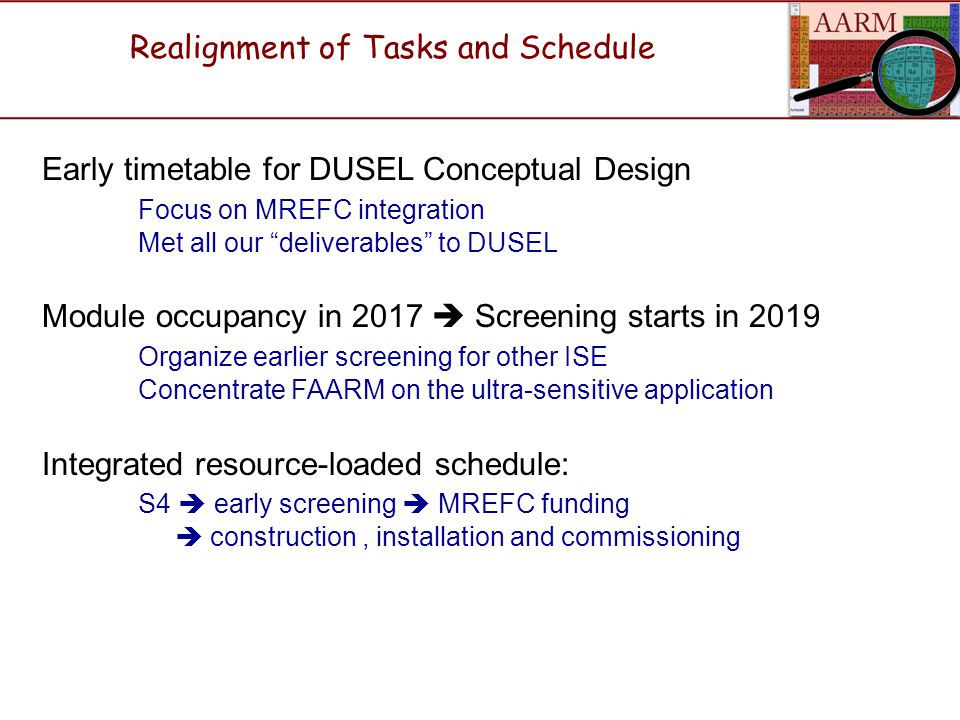 Early timetable for DUSEL Conceptual Design Focus on MREFC integration Met all our deliverables to DUSEL Module occupancy in 2017  Screening starts in 2019 Organize earlier screening for other ISE Concentrate FAARM on the ultra-sensitive application Integrated resource-loaded schedule: S4  early screening  MREFC funding  construction, installation and commissioning Realignment of Tasks and Schedule