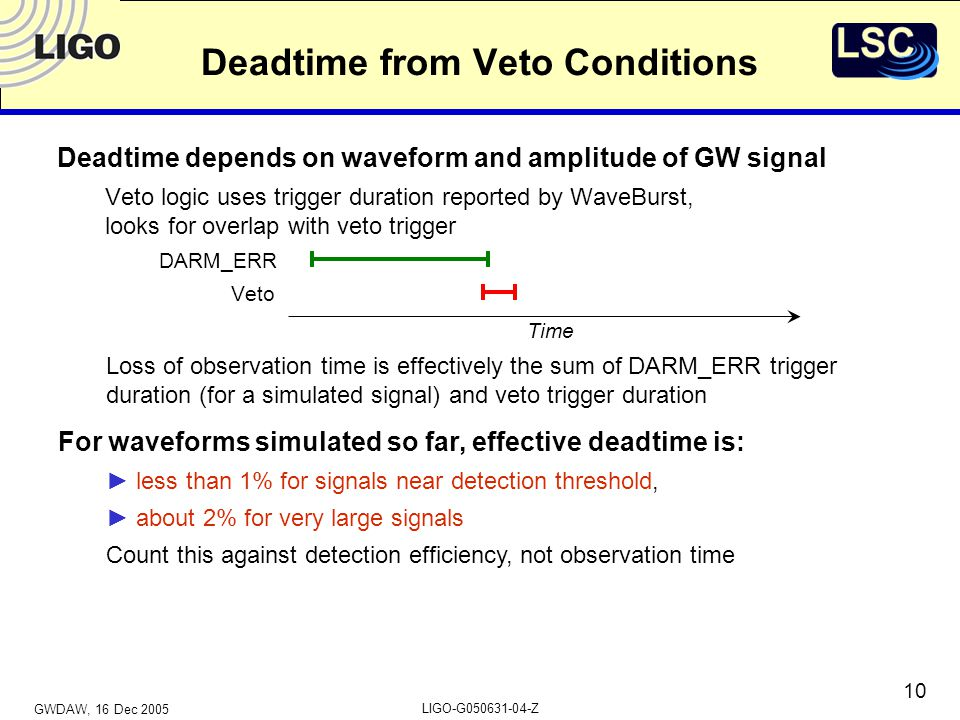 GWDAW, 16 Dec 2005 LIGO-G050631-04-Z 10 Deadtime from Veto Conditions Deadtime depends on waveform and amplitude of GW signal Veto logic uses trigger duration reported by WaveBurst, looks for overlap with veto trigger DARM_ERR Veto Time Loss of observation time is effectively the sum of DARM_ERR trigger duration (for a simulated signal) and veto trigger duration For waveforms simulated so far, effective deadtime is: ► less than 1% for signals near detection threshold, ► about 2% for very large signals Count this against detection efficiency, not observation time