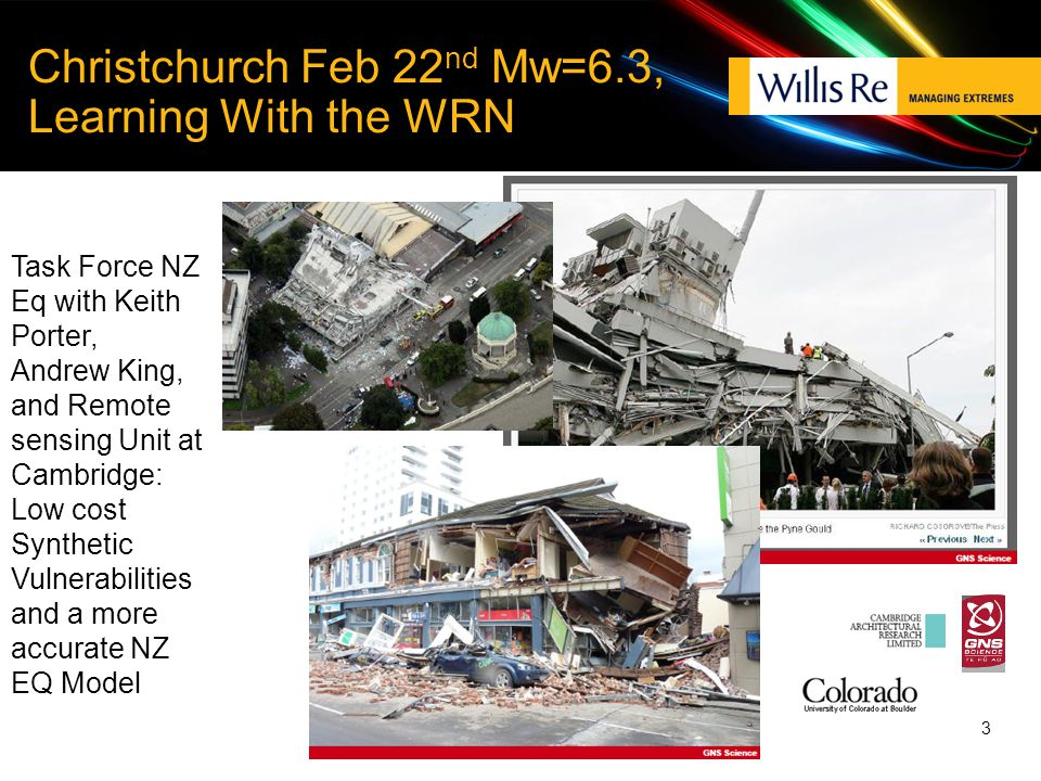 3 Christchurch Feb 22 nd Mw=6.3, Learning With the WRN Task Force NZ Eq with Keith Porter, Andrew King, and Remote sensing Unit at Cambridge: Low cost Synthetic Vulnerabilities and a more accurate NZ EQ Model