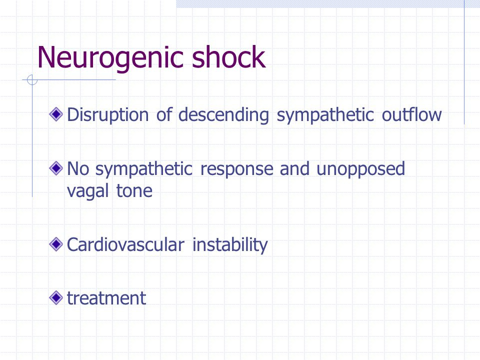 Neurogenic shock Disruption of descending sympathetic outflow No sympathetic response and unopposed vagal tone Cardiovascular instability treatment