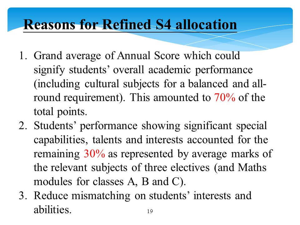 1.Grand average of Annual Score which could signify students' overall academic performance (including cultural subjects for a balanced and all- round requirement).