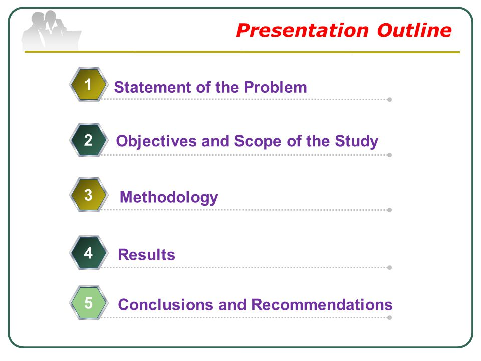 Presentation Outline Statement of the Problem 1 Objectives and Scope of the Study 2 Methodology 34 Results 5 Conclusions and Recommendations