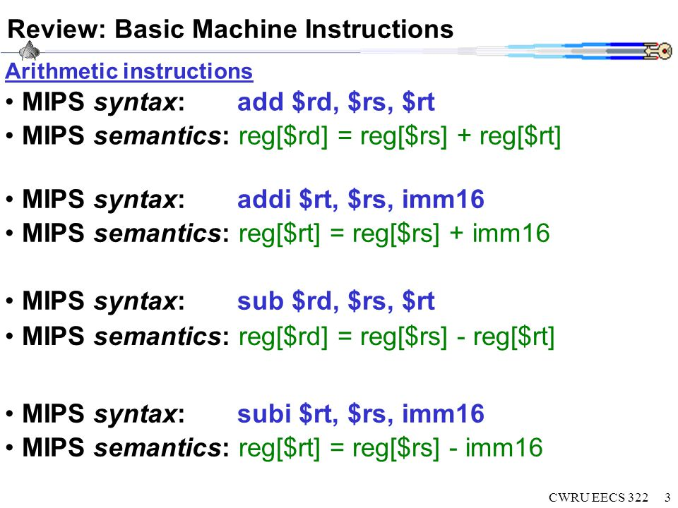 CWRU EECS 3223 Review: Basic Machine Instructions MIPS syntax: add $rd, $rs, $rt MIPS semantics: reg[$rd] = reg[$rs] + reg[$rt] MIPS syntax: sub $rd, $rs, $rt MIPS semantics: reg[$rd] = reg[$rs] - reg[$rt] MIPS syntax: addi $rt, $rs, imm16 MIPS semantics: reg[$rt] = reg[$rs] + imm16 Arithmetic instructions MIPS syntax: subi $rt, $rs, imm16 MIPS semantics: reg[$rt] = reg[$rs] - imm16