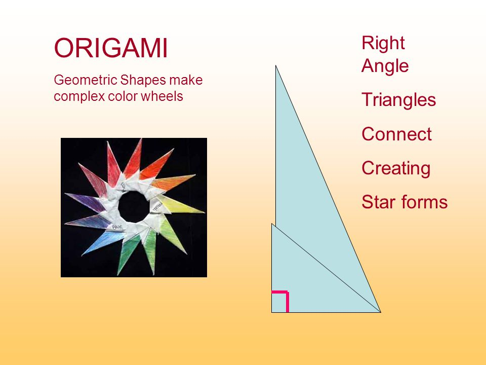 Right Angle Triangles Connect Creating Star forms ORIGAMI Geometric Shapes make complex color wheels