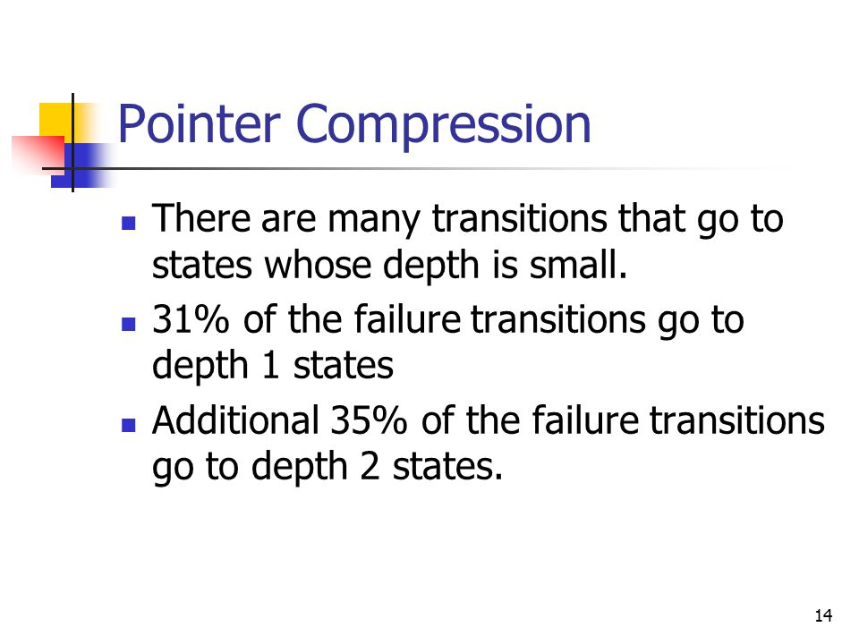14 Pointer Compression There are many transitions that go to states whose depth is small.