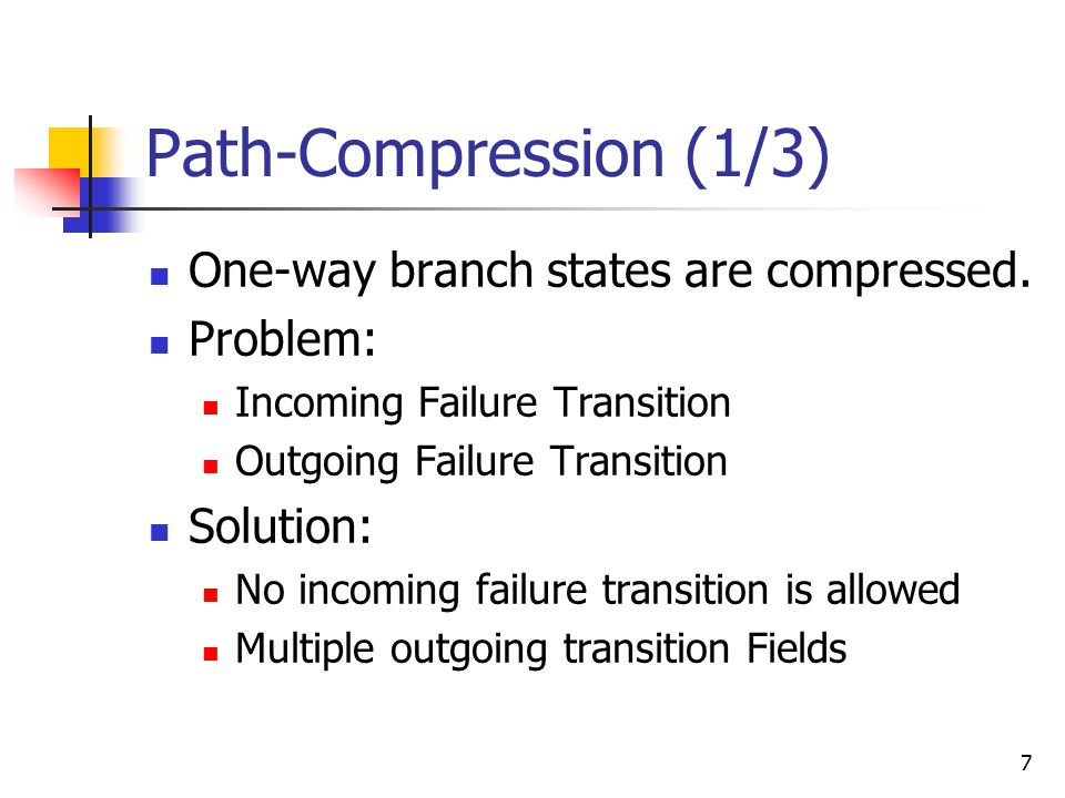 7 Path-Compression (1/3) One-way branch states are compressed.