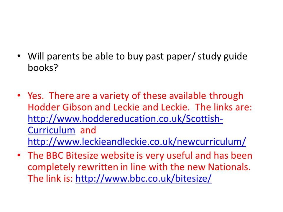 Will parents be able to buy past paper/ study guide books.