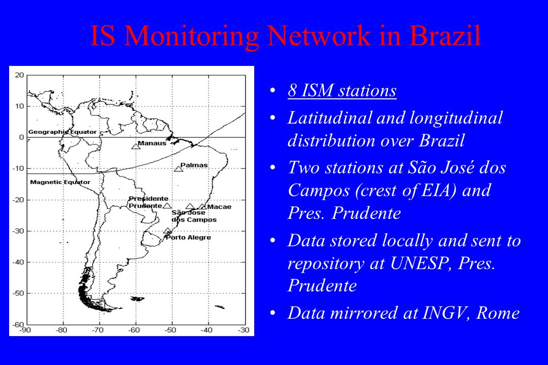 8 ISM stations Latitudinal and longitudinal distribution over Brazil Two stations at São José dos Campos (crest of EIA) and Pres.