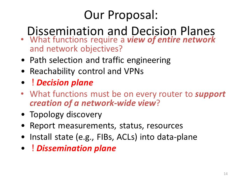 14 Our Proposal: Dissemination and Decision Planes What functions require a view of entire network and network objectives.