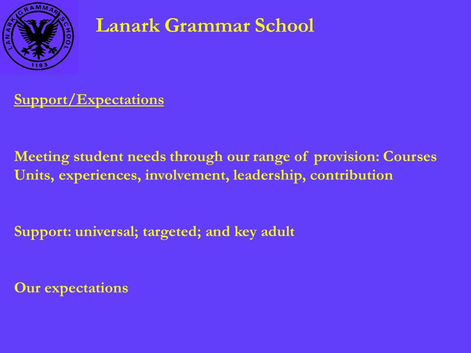 Lanark Grammar School Support/Expectations Meeting student needs through our range of provision: Courses Units, experiences, involvement, leadership, contribution Support: universal; targeted; and key adult Our expectations