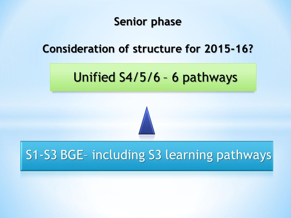 Unified S4/5/6 – 6 pathways S1-S3 BGE– including S3 learning pathways Senior phase Consideration of structure for