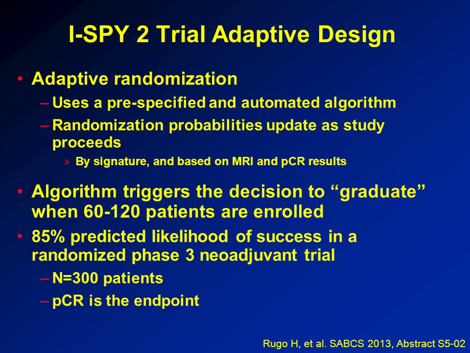 I-SPY 2 Trial Adaptive Design Adaptive randomization –Uses a pre-specified and automated algorithm –Randomization probabilities update as study proceeds »By signature, and based on MRI and pCR results Algorithm triggers the decision to graduate when 60-120 patients are enrolled 85% predicted likelihood of success in a randomized phase 3 neoadjuvant trial –N=300 patients –pCR is the endpoint Rugo H, et al.