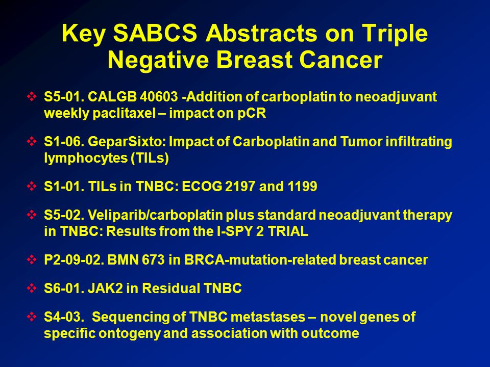 Key SABCS Abstracts on Triple Negative Breast Cancer  S5-01.
