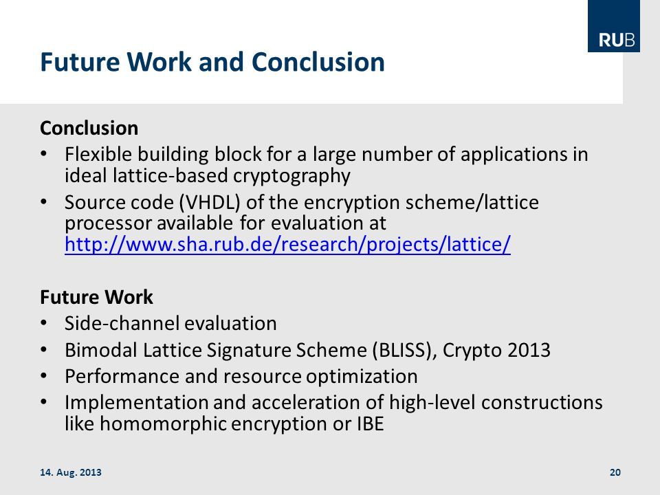 Future Work and Conclusion 14. Aug.