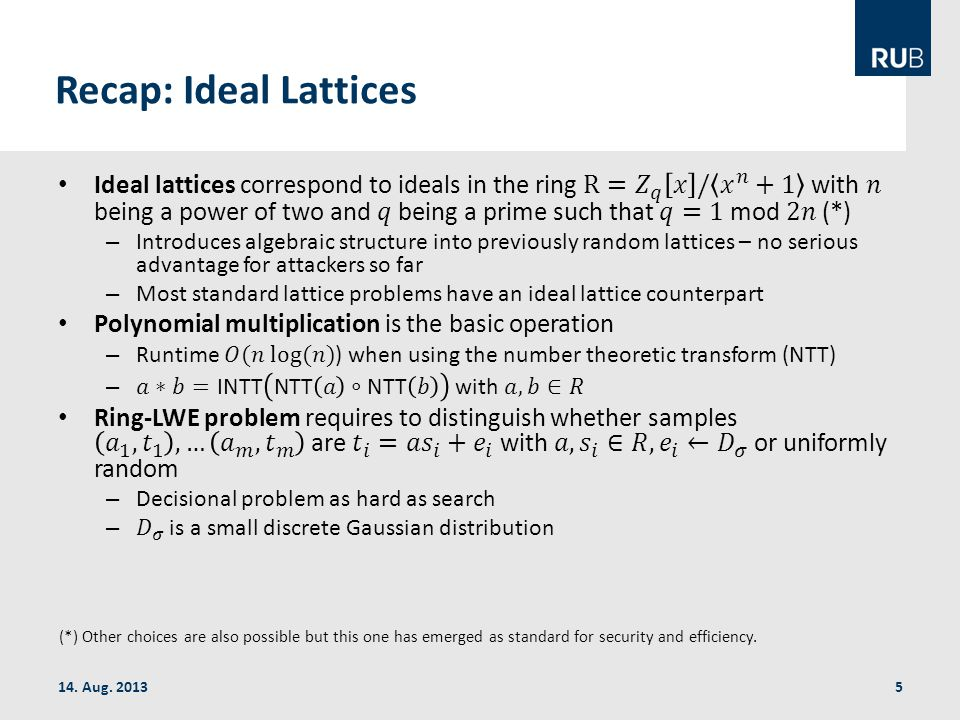 Recap: Ideal Lattices 14. Aug.