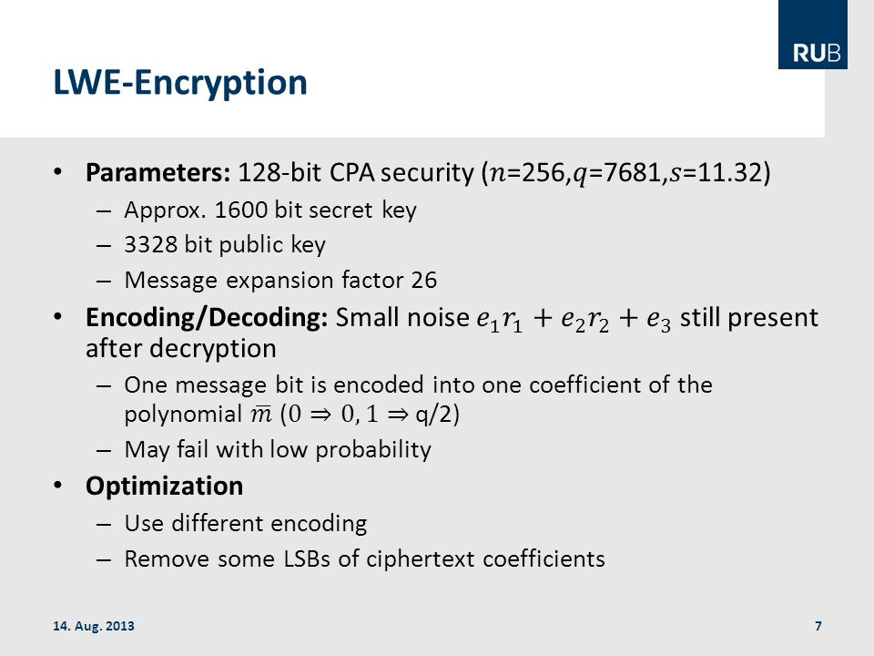 LWE-Encryption 14. Aug. 20137