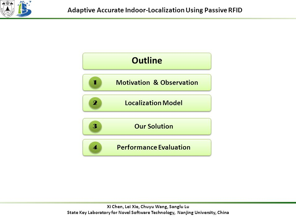 Adaptive Accurate Indoor-Localization Using Passive RFID Outline Motivation & Observation 1 Our Solution 3 Localization Model 2 Performance Evaluation 4 Xi Chen, Lei Xie, Chuyu Wang, Sanglu Lu State Key Laboratory for Novel Software Technology, Nanjing University, China