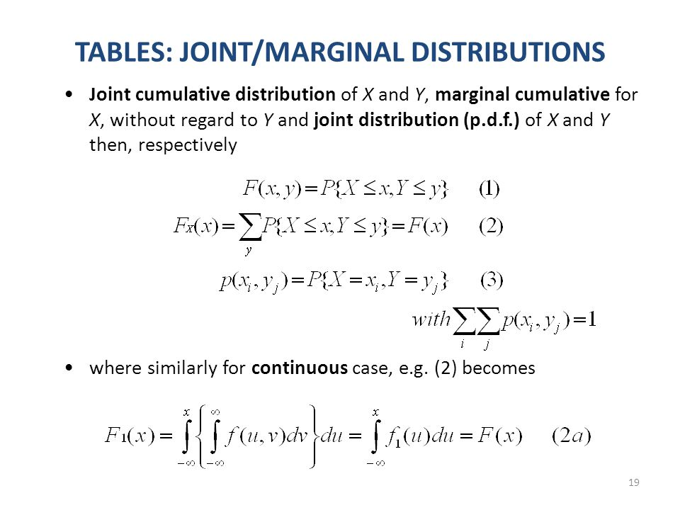 19 TABLES: JOINT/MARGINAL DISTRIBUTIONS Joint cumulative distribution of X and Y, marginal cumulative for X, without regard to Y and joint distribution (p.d.f.) of X and Y then, respectively where similarly for continuous case, e.g.
