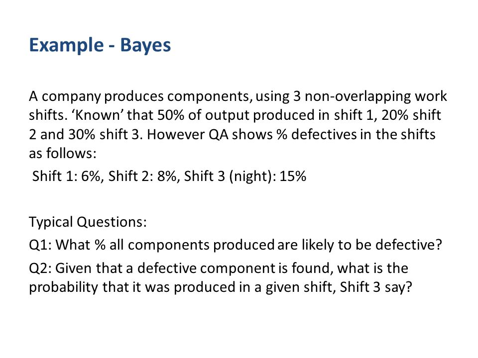 Example - Bayes A company produces components, using 3 non-overlapping work shifts.