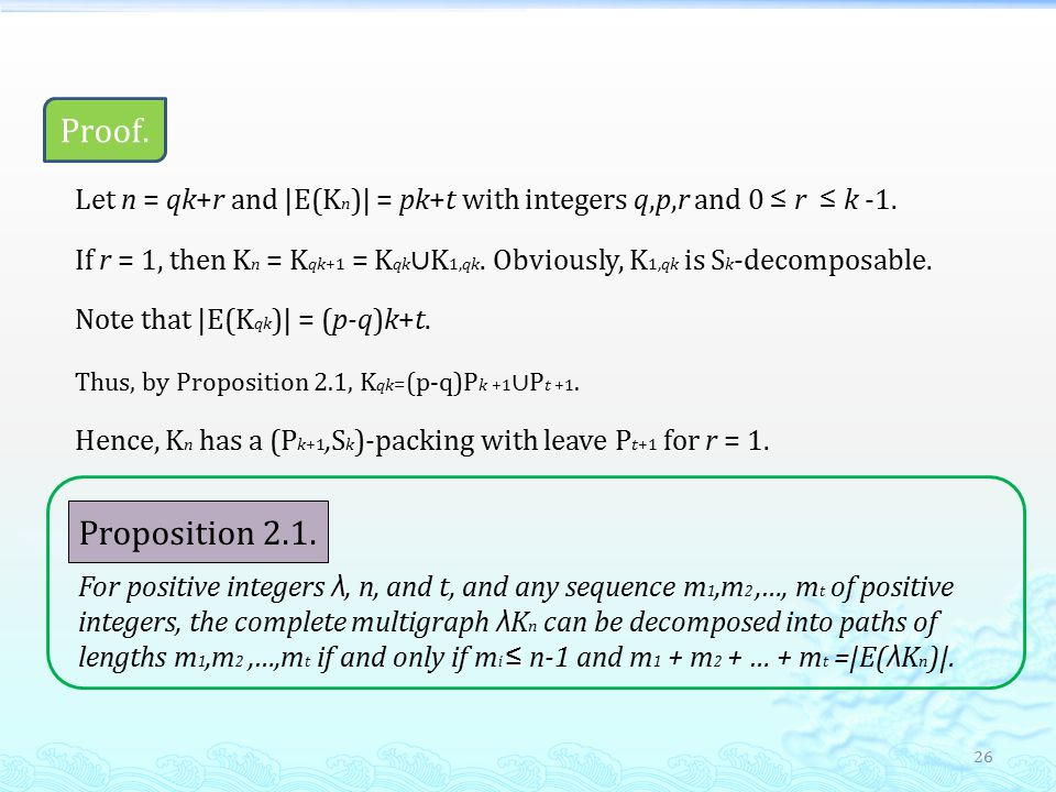26 Proof. ≤ ≤ Let n = qk+r and |E(K n )| = pk+t with integers q,p,r and 0 ≤ r ≤ k -1.
