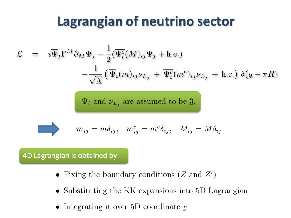 Lagrangian of neutrino sector 4D Lagrangian is obtained by