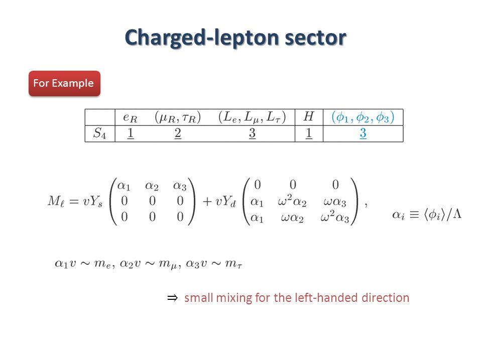 Charged-lepton sector For Example ⇒ small mixing for the left-handed direction