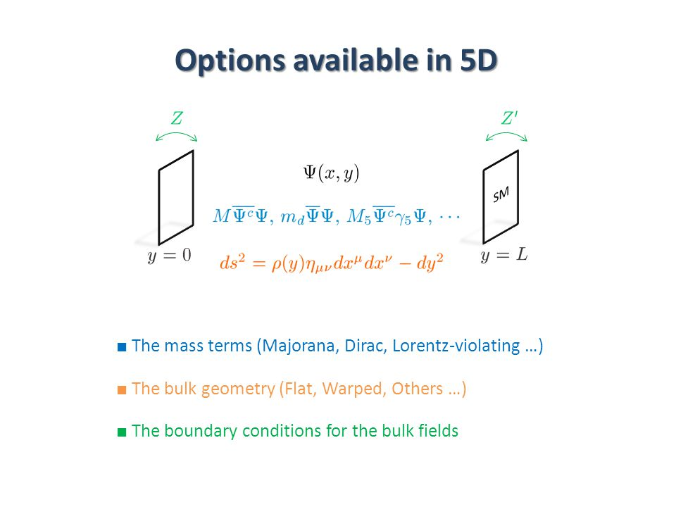 Options available in 5D ■ The mass terms (Majorana, Dirac, Lorentz-violating …) ■ The bulk geometry (Flat, Warped, Others …) ■ The boundary conditions for the bulk fields